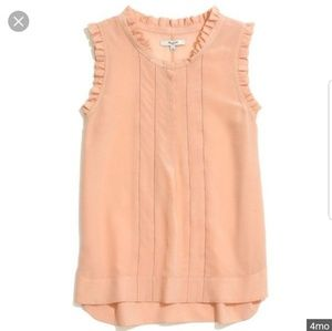 Madewell Peach Silk Sleeveless Ruffle Blouse